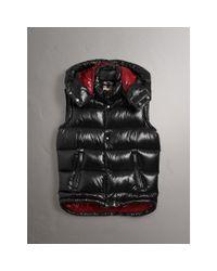 Burberry - Black Detachable Hood Down-filled Gilet for Men - Lyst