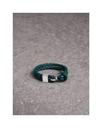 Burberry - Multicolor Braided Leather Bracelet In Dark Teal - Men | - Lyst