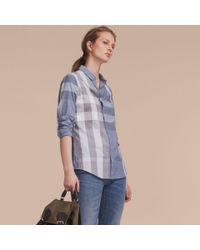 Burberry   Check Cotton Shirt Canvas Blue   Lyst