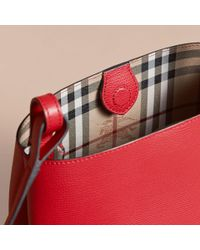 Burberry - Leather And Haymarket Check Bucket Crossbody Bag Poppy Red - Lyst