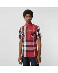 Lyst - Burberry Short-sleeve Check Stretch Cotton Blend Shirt Parade ... 343989b862
