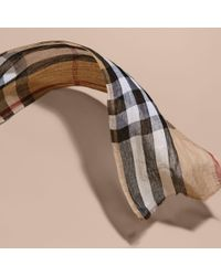 Burberry - Natural Lightweight Check Linen Scarf Camel for Men - Lyst