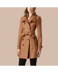 Burberry - Blue Short Double Wool Twill Trench Coat - Lyst