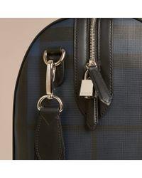 Burberry - Blue Leather Trim London Check Holdall Navy/black - Lyst