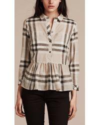 Burberry - Natural Check Peplum Cotton Shirt Stone - Lyst