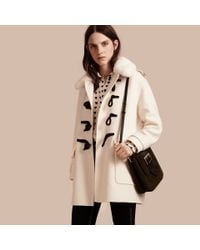 Burberry Cashmere Duffle Coat With Detachable Fur Collar in White ...