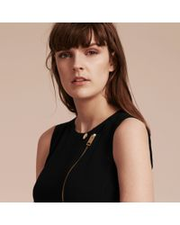 Burberry - Black Zip Detail Sleeveless Wool Dress - Lyst