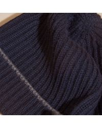 Burberry - Blue Ribbed Cashmere Beanie With Border Detail Navy/mid Grey for Men - Lyst