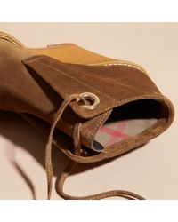 Burberry | Brown Suede Wedge Ankle Boots | Lyst