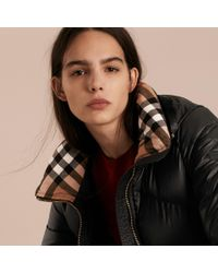 Burberry | Chevron-quilted Down-filled Coat Black | Lyst
