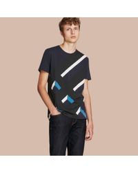 Burberry | Blue Abstract Check Print Cotton T-shirt Navy for Men | Lyst