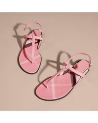 Burberry - Multicolor House Check-lined Leather Sandals Berry Pink - Lyst