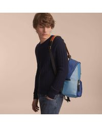 Burberry - Leather And House Check Trim Technical Backpack Slate Blue for Men - Lyst