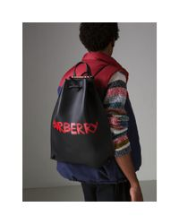 Burberry - Multicolor Graffiti Print Bonded Leather Drawcord Backpack for Men - Lyst