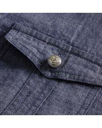 Burberry - Blue Check Detail Denim Shirt - Lyst