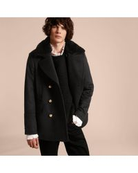 Burberry Military Pea Coat With Detachable Shearling Collar in ...