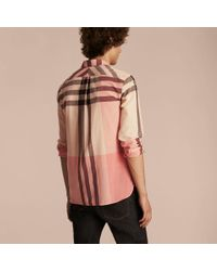 Burberry - Check Cotton Poplin And Linen Shirt Rose Pink for Men - Lyst