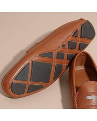 Burberry - Brown Leather Loafers With Engraved Check Detail for Men - Lyst