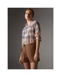 Burberry | Multicolor Check Cotton Shirt Apricot | Lyst