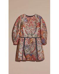 Burberry - Brown Metallic Floral Jacquard Sculptured Sleeve Dress - Lyst