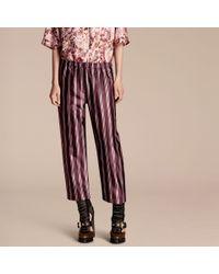 Burberry | Blue Panama Stripe Cropped Cotton Silk Satin Pyjama-style Trousers | Lyst