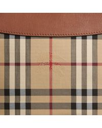 Burberry - Brown Horseferry Check And Leather Clutch Bag Tan - Lyst