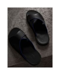 Burberry - Black Ledersandalen mit kontrastierendem Detail for Men - Lyst