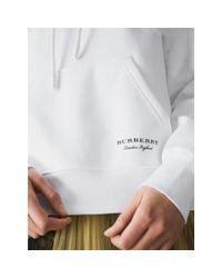 Burberry White Stripe Detail Jersey Hoodie
