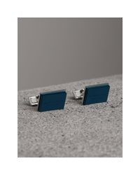 Burberry - Blue Engraved Enamel Cufflinks for Men - Lyst