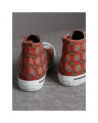 Burberry - Multicolor Tiled Archive Print Cotton High-top Sneakers - Lyst