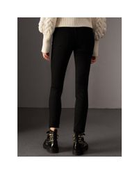 Burberry - Skinny Fit Low-rise Deep Black Jeans - Lyst