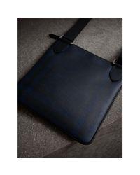 Burberry - Blue Leather Trim London Check Crossbody Bag Navy/black for Men - Lyst