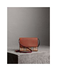 Burberry - Brown Haymarket Check And Leather Crossbody Bag - Lyst