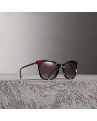 f8e32cb818f0 Lyst - Burberry Tortoiseshell Square Frame Sunglasses in Gray