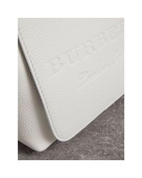 Burberry White Small Embossed Leather Messenger Bag