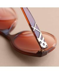 Burberry - Multicolor Check Detail Round Frame Sunglasses Rose - Lyst