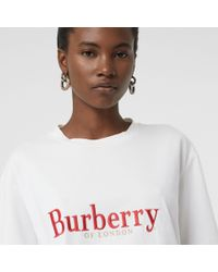 Burberry - White Embroidered Archive Logo Cotton T-shirt - Lyst