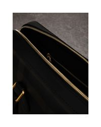 Burberry - Brown Medium Leather Trim London Check Briefcase Chocolate/black for Men - Lyst