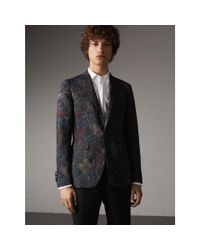 Burberry - Gray Slim Fit Beasts Technical Silk Jacquard Tailored Jacket for Men - Lyst