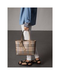 Burberry - Natural The Small Reversible Tote In Haymarket Check And Leather Mid Camel - Lyst