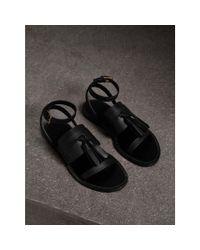 Burberry - Black Tasselled Leather Sandals - Lyst
