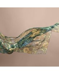 Burberry - Beasts Print Lightweight Silk Scarf In Sage Green - Lyst