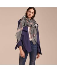 Burberry | Multicolor Check Modal And Wool Square Scarf Dark Trench | Lyst