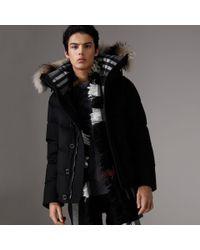 ccb7c780e7254 Burberry Short Detachable Fur Trim Cashmere Puffer Jacket in Black ...
