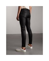 Burberry - Black Skinny Fit Low-rise Wax Coated Jeans - Lyst