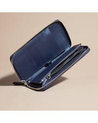Burberry - Blue Zip-Around London Travel Wallet  - Lyst