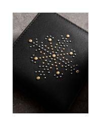 Burberry | Black Riveted Leather International Bifold Wallet for Men | Lyst
