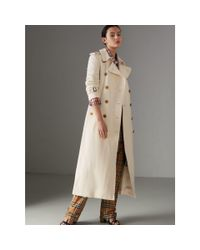Burberry - Natural Cotton Linen Canvas Trench Coat - Lyst