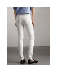 Burberry - Skinny Fit Low-rise White Jeans - Lyst