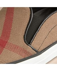 Burberry - Black Check Slip-on Trainers - Lyst